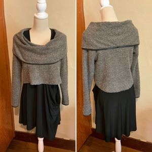 SYMPLI cropped sweater boucle faux leather trim